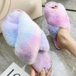 Women Faux Fur Fluffy Flat Slippers Rainbow Slip On Shoes Blue 40-41