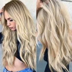 Women Gradient Grey Gold Long Curly Hair Ladies As Pics