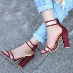 Women High Square Heels Sandals New Open winered 40