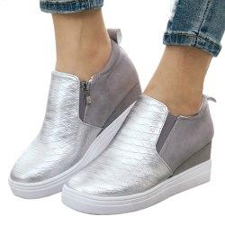 Women Hot Latest Zipper Plaid Shoes White 39