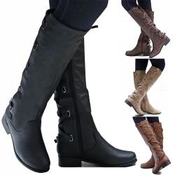 Women Knee High Booties Motorcycle Flat Low Heel Boot Black 39