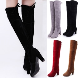 Women Knee High Boots Ladies Warmer Mid Calf Riding Booties Red 38