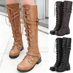 Women Lace Up Tall Martin Boots black 37