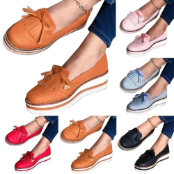 Women Laides Round Toe Fringe Single Slip On Flats Shoes Pink 36