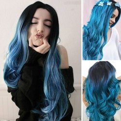 Women Long Curly Synthetic Wig Black Root Black & Blue