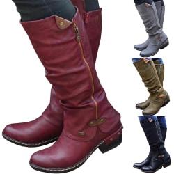 Women Low Heel Martin Boots Retro green 36