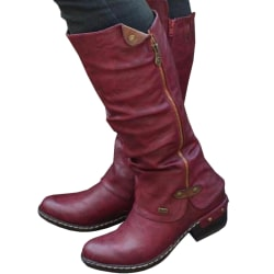 Women Low Heel Martin Boots Retro red 36