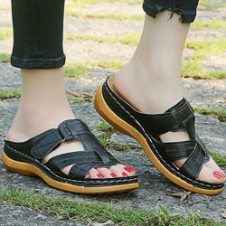 Women Orthopedic Sandals Comfy Non-slip Flat Shoes Black 36