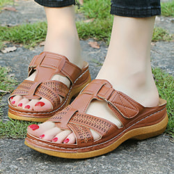 Women Orthopedic Sandals Comfy Non-slip Flat Shoes Brown 43
