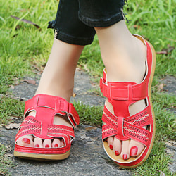Women Orthopedic Sandals Comfy Non-slip Flat Shoes Red 39