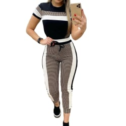 Women Plaid Color-block Printing Tight-fitting Casual Suit Black L