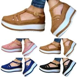 Women Platform Ankle Strap Buckle Sandals Wedge Sliders Flat Pink 38