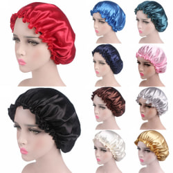 Women Ruffle Satin Night Caps India Care Bonnet Hat Head Cover Black