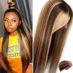 Women's Brown Gradient Long Straight Hair Wig