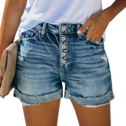 Women's Casual Denim Shorts Buttoned Light Blue All-match Light blue M