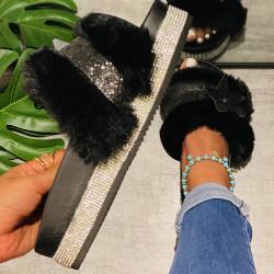 Women's Glitter Star Plush Slippers Home Sandals Black 39
