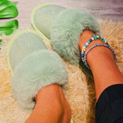 Women's Half Toe Cap Plush Sandals Slip On Shoes Green 41
