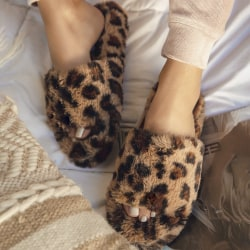 Women's Home Plush Slippers Winter Living Room Bedroom Leopard 39