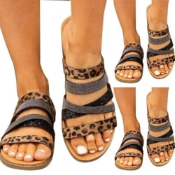 Women's Ladies Summer Sandals Slingback Holiday Casual Shoes Leopard 37