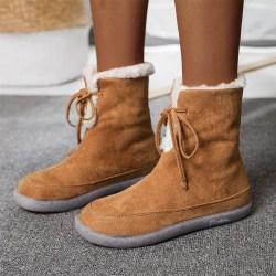 Women's Warm Fleece Comfy Ankle Boots Casual Snow Boots Khaki 39