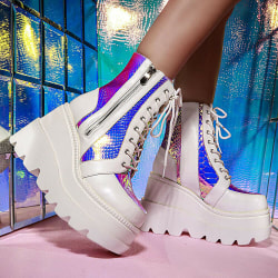 Women Gothic Punk Platform Ankle Boots Lace Up Zip Vintage Shoes White 43