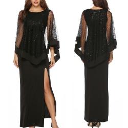 Kvinnors paljettstygn hög midja Slim-fit lång klänning kjol