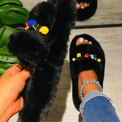 Women's Solid Color Plush Slippers Home Sandals Black 37