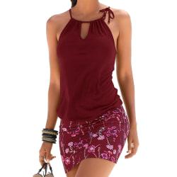 Kvinnors strappy grimma ärmlös klänning mjuk och andas Wine red M