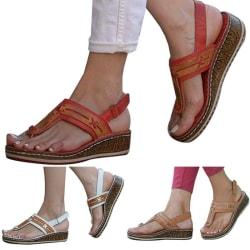 Women Slip On Sliders Leather Flip Flop Toe Sandals Summer Brown 38