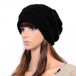 Women Solid Knitted Hat Lady black