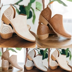 Women Summer Out Carved Solid Color brown 42