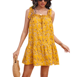 Women Summer Printed High Waist Dress With Adjustable Ear Straps Yellow S