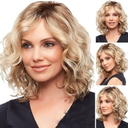 Women Synthetic Short Wigs Cosplay Ombre gold