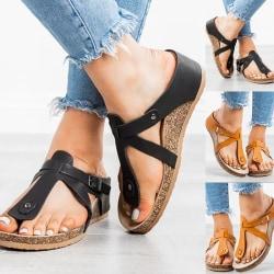 Women Thong Flip Flop Flat Sandals Casual brown 38
