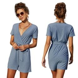 Kvinnors V-ringning Lågskuren sexig kortärmad slips Midja Jumpsuit Blue L