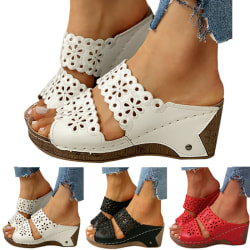 Women Wedges Peep-Toe Out Sandals Red 39