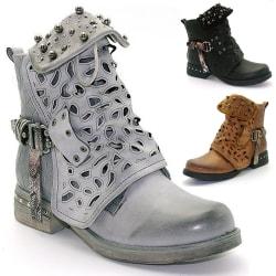 Women Winter Ankle Low Block Heels Chelsea Zipper Booties Grey 39