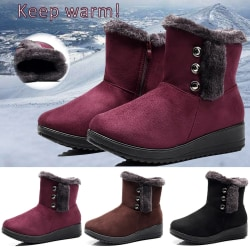 Women Winter Fur Boots Wedge Low red 36