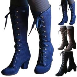 Women Winter Snow Boots Ladies Lace blue 39