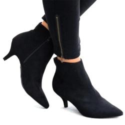Womens Boots Low Heel Ankle Fine coffee 36