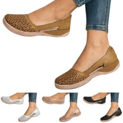 Womens Casual Flat Sandals Summer Casual Shoes Brown 37