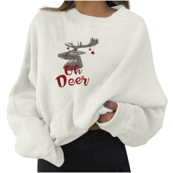 Womens Christmas Elk Print Long Sleeve Sweatshirt Blouse Tops White M