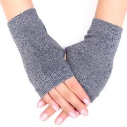 Womens Girls Fingerless Winter Gloves Protection Wrist Warmer Grey