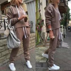 Womens Hooded Tracksuits Set Tops Pants Sports Lounge Sets Khaki M