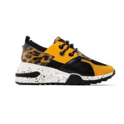 Womens Lace-up Animal Print Trainers Casual Running Shoes Yellow 39