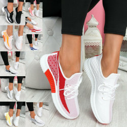 Womens Ladies Lace Up Mesh Knit Trainers Sport Running Shoes Grey 37