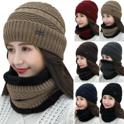 Womens Ladies Winter Beanie Hat&Scarf Warm Knitted Cap Wine Red
