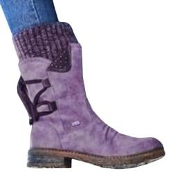 Womens Mid Calf Boots Winter Short Winter purple 40