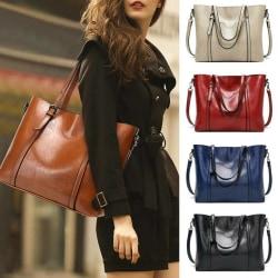 Womens Office PU Leather Bag Handbag Ladies Plain Large Casual Brown
