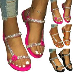 Womens Rhinestones Diamante Sandals Ladies Ankle Strap Flat Orange 40